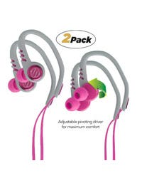 Pink and grey workout ear buds two pack