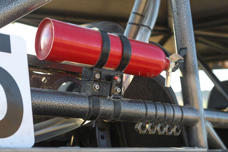Graphic image of Base Clamp Mount with Fire Extinguisher