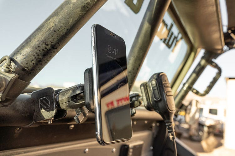 Graphic Image of BaseClamp Mount with phone