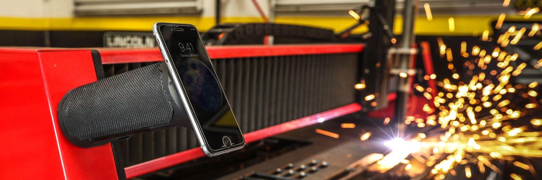 Graphic Banner image of Bluetooth speaker in garage