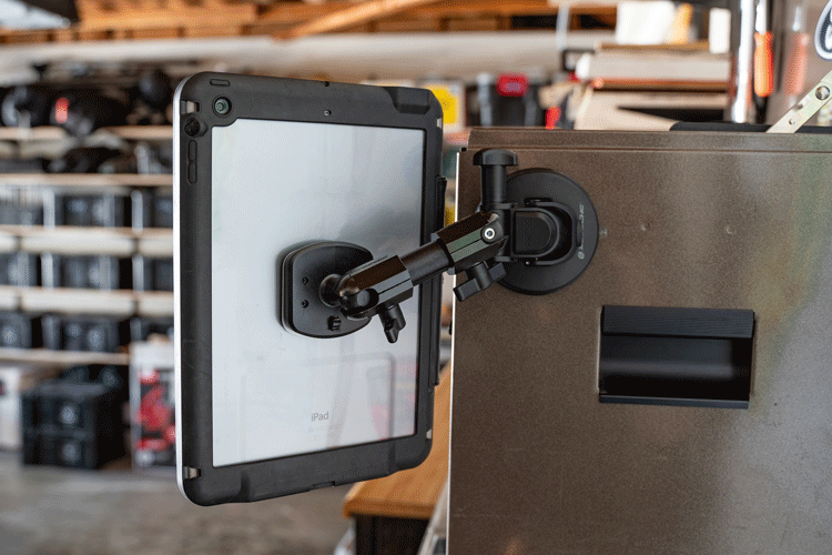 Graphic image of Terra Clamp Phone Mount attached to tool box