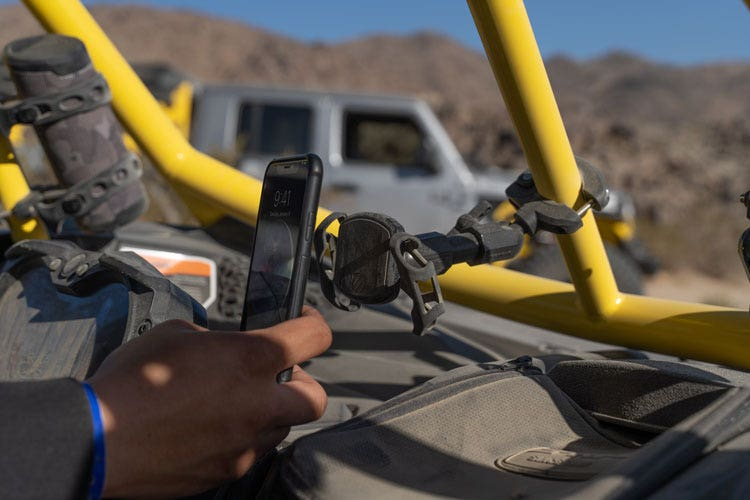 Graphic image of Terra Clamp Phone Mount attached to off road vehicle