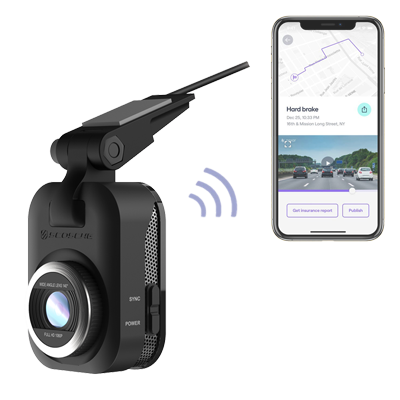 image of dash camera and phone app