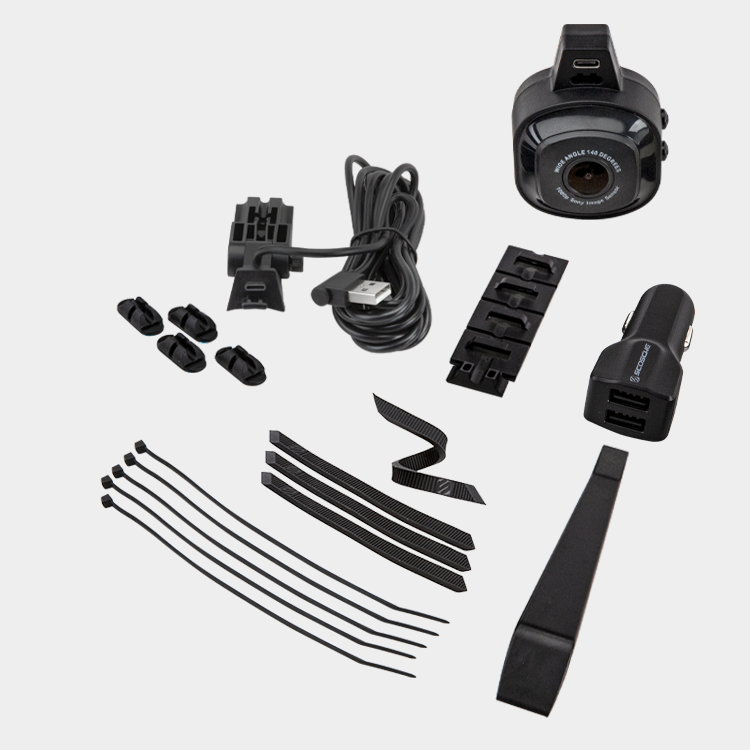 Full HD Dash Camera and USB Power Cable Installation tools, ties, and mounts